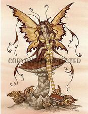 Amy Brown Fairy Print Faery Autumn Tranquility Mushroom 8.5x11 Fall Leaves