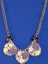 Betsey Johnson Gold Fabulous Flowers Triple Cluster Heart Ribbon Weave Necklace