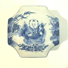 Canton box with lid 5 x 3.5 inches blue white porcelain hand painted in Thailand