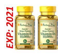 Vitamin D3 D 10000 IU Mega Potency 2X100=200 Softgels Max Strength MADE USA 2021