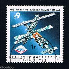 AUSTRIA 1 FRANCOBOLLO AUSTROMIR VOLO SPAZIALE SPAZIO 1991 timbrato