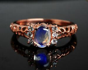 Natural Blue Moonstone 925 Sterling Silver Rose Gold Polish Ring For Gift