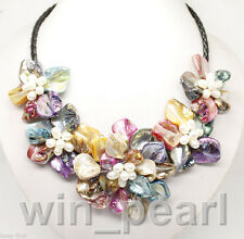 """new Multi-Color of pearl shell flower necklace 18""""long"""
