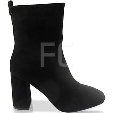 EW WOMENS LADIES PLAIN MID HIGH BLOCK HEEL ZIP CHELSEA ANKLE BOOTS SIZE PARTY