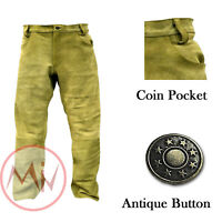 Men's Real Suede Leather 5 Pocket Jeans Style Pant American Native All Sizes NEW