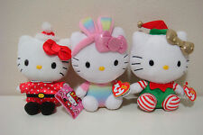 SET OF 3 NEW WITH TAG HELLO KITTY TY BEANIE BABIES& SANRIO HOLIDAY 6 INCH PLUSH