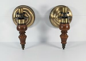 Vintage Wooden Brass Wall Sconce Taper Candle Holder Set of 2 Traditional *Flaw*