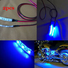 2pcs 3-SMD blue LED Strip Lights Lamp For Motorcycle Under Glow Accent Lighting