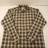 Columbia Mens XXL Long Sleeve Button Up Plaid Shirt Brown Gray Outdoors Workwear