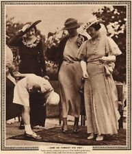 QUEEN ELIZABETH QUEEN MOTHER. And he forgot his hat Bowing 1937 old print