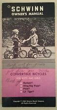vintage SCHWINN  CONVERTIBLE BICYCLES OWNERS MANUAL 1969 BANTAM - PIXIE ++++