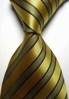 Hot! Classic Striped Gold Black JACQUARD WOVEN 100% Silk Men's Tie Necktie