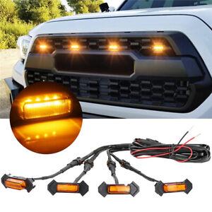 4X 12V-24V Raptor Style Amber Lens Grille LED Lights For Toyota Tacoma TRD Pro