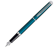 WATERMAN HEMISPHERE METALLIC  BLUE FOUNTAIN PEN MEDIUM PT  NEW IN BOX WIDE BAND