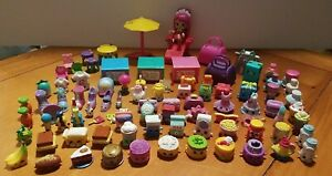 Shopkins Lot of 80+ Random Fruit Food Shoes Makeup Purses Chairs Recipe Box