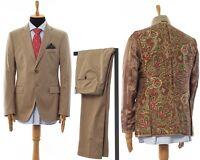 Mens ETRO Two Piece Suit Blazer Trousers Wool Silk Lining Beige Size 44 54