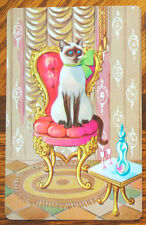 CAT - PRETTY SIAMESE IN THE BEAUTY PARLOUR - SINGLE VINTAGE SWAP PLAYING CARD