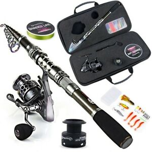 Telescopic Fishing Rod Reel Combo Travel Pole Lure Line Bag Sets Kit Tackle Tool
