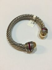 BEAUTIFUL 6MM  STERLING SILVER BANGLE WITH 18K GOLD AND RUBY STONES!!!