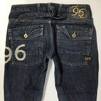 Ladies G-Star ELWOOD HERITAGE NARROW SLIM DARK BLUE jeans size W28 L32 (701c)