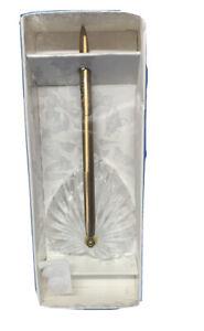 Hortense B. Hewitt Co. Gold Pen With Heart Shape Crystal Base
