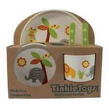 NEW SAFARI ANIMALS Kids Bamboo Dinnerware Set by Tinkie Toys Baby Plate Cutlery!