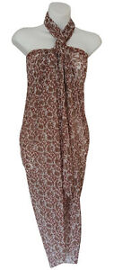 """Red Brown Paisley Print Sarong Pareo Big Scarf Swimsuit Beach Wrap Cover Up 73"""""""