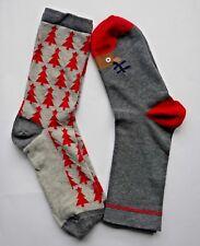 Womens/Boys/Girls Christmas Socks Size UK 4-7(EU 36-40) Grey Cotton Rich 2 Pairs