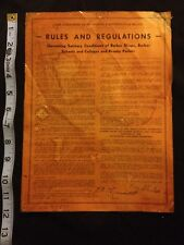 RARE 1938 STATE OF TEXAS RULES & REGULATIONS BARBER SHOP, BEAUTY PARLOR, SIGNED