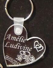 superbe porte clefs plexiglas + motif et prénom au choix ( ici amour)