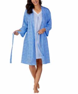 Carole Hochman, 2 Pc Short Sleeve Chemise + Wrap Robe Set (Choose Size + Color)