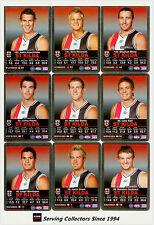 2009 AFL Teamcoach Trading Card Silver Parallel Team set St. Kilda (10)