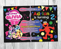 My Little Pony & Elmo Double Birthday Party invite / Sibling Invite / Twins