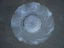 Mikasa Footed Bowl/Plate Frosted Glass Rose Center Leaf Border