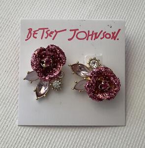 Betsey Johnson Rose Glitter Rhinestone Post Earrings Pink Party Retro Costume