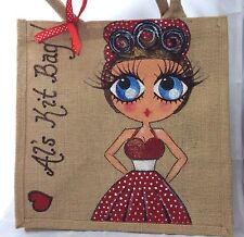 Personalised Vintage Pinup Painted Jute Celebrity Style Handbag Hand Bag Gift