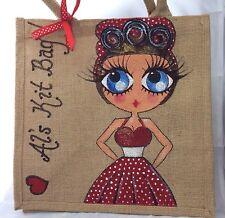 Personalised Vintage Pinup Painted Jute Celebrity Style Handbag Hand Bag Gift