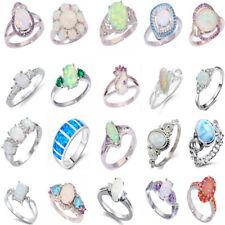925 Silver Filled White Fire Opal Gems Women Wedding Jewelry Ring Size 5-11