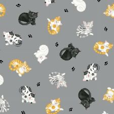 Cat's Meow Fabric - Kitten and Paw Print Toss Gray - Henry Glass YARD