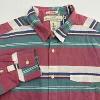 H&M Button Up Shirt Men's Large Long Sleeve Multi Striped Regular Fit Casual