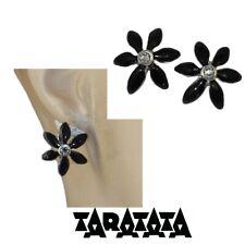 TARATATA Boucles d'oreilles dormeuses plaqué argent fleur émail noir bijou