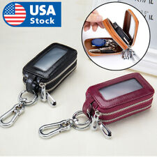 Genuine Leather Car Key Chain Ring Dual Holder Pouch Case Organizer Bag Wallet