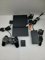 Sony PS2 PlayStation 2 Slim Black Console Bundle SCPH-79001 Slim System. TESTED