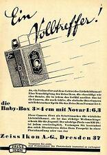 Zeiss Ikon AG Dresden BABY BOX 3x4 cm mit Novar  Historische Reklame von 1930