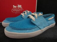 COACH A0973 Malania Canvas Turquoise Flats Sneakers Boat Shoes US 6.5 M NWB