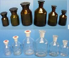 Steilbrustflasche, Apothekerflasche Enghals / Weithals, Glasstopfen / PE-Stopfen