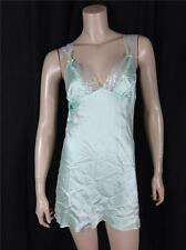 FAMOUS CATALOG $42.00 ANGEL FOIL LACE AND SATIN SLIP BABYDOLL GREEN SZ M