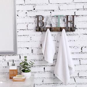 Wall Mounted Rustic Torched Wood 4 Dual-Hook BATH Towel Hanging Rack