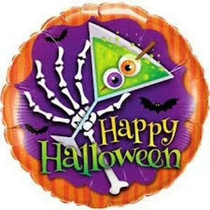 """18"""" Inch 46 cm Qualatex Balloon Round Foil Halloween Scary Drink Party Supplies"""
