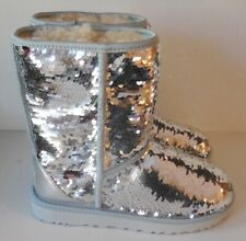 UGG Australia Classic Short Sequin Boots Size 6 Silver Shades to Pink NEW $190